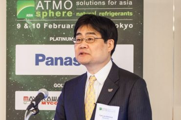Tetsuro Homma, presenting Panasonic's natural refrigerant strategy at ATMO Asia 2016 in Tokyo, Japan.