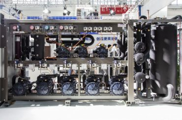 Transcritical CO2 rack on display by Panasonic at China Refrigeration 2018.