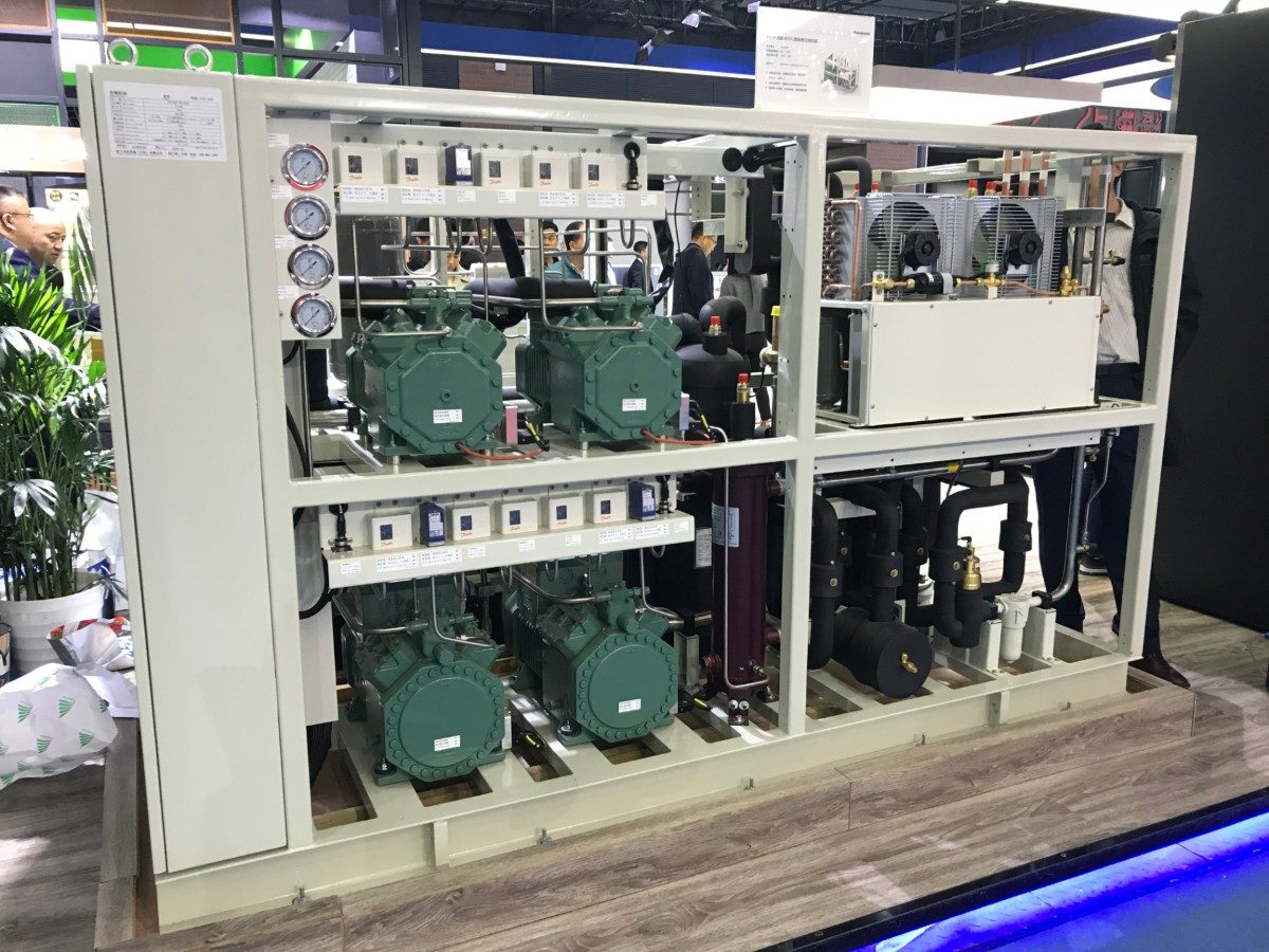 Panasonic exhibited its new 80HP (60kW) transcritical CO2 rack at ChinaShop 2019.