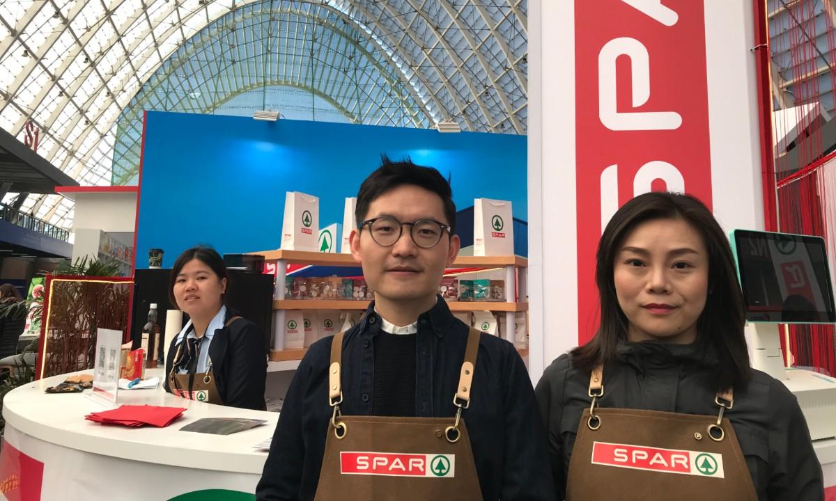 SPAR China's Junbo Chen (left) and Jolin Zhu at ChinaShop 2019 in Qingdao, China.