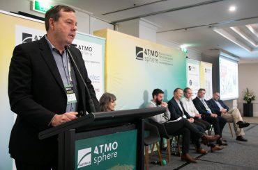Mike Baker, Managing Director, AJ Baker & Sons addresses the crowd at ATMOsphere Australia 2019 in Melbourne in May.