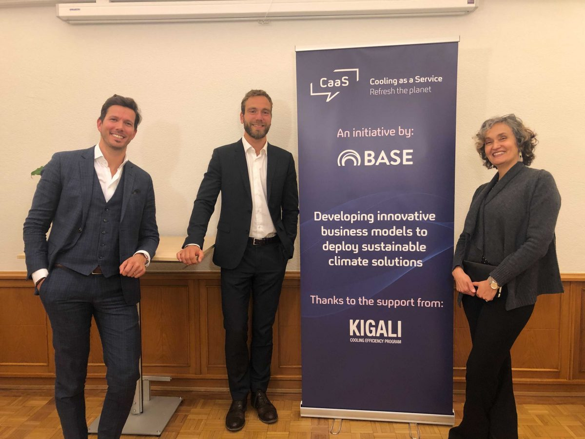 The BASE team behind the scenes, from left: Dimitris Karamitsos, Thomas Motmans, and Carla Della Maggiora.